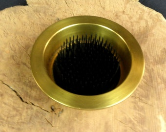 """1 Solid Brass Antique Brass Water Holding Floral Pin Frog Kenzan 5"""" Lip Fits a 4"""" Hole for Japanese Ikebana Vases 1 1/4"""" High Flower Holder"""