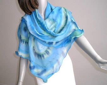 Hand Painted Shawl, Aquamarine Blue Wrap, Ink Moss Sage, Light Blue Wrap, Artisan Handmade, Hand Dyed, Ocean Colors, One of a kind, Jossiani