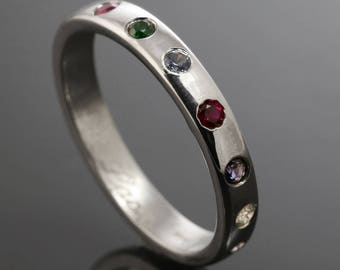 Mother's Ring / Grandmother's Ring / Family Ring. 7 Birthstones. Man Made Gemstone. Sterling Silver. Lab Created Stone. Flush Setting.