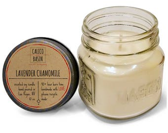 Lavender Chamomile Scented Soy Candle - Scented Candle - Handmade Candle - Mason Jar Candle - 10 oz Candle - Eco Friendly Candle