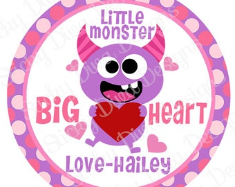 PERSONALIZED VALENTINE STICKERS - Little Monster  - Round Gloss Sticker Labels