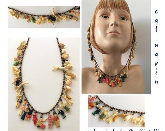 Cracker Jack Necklace Collectables Vintage 1920's-1940's Celluloid Fashion Charms Prizes