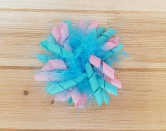 LAST ONE, Pink/Aqua, Feather Korker bow