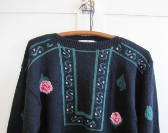 1980's Rose Patterned Wool Baggy Sweater, Women's Medium, Toplike, Black, Rose, Patterned, Baggy, Wool Blend, British, Floral, 1980's