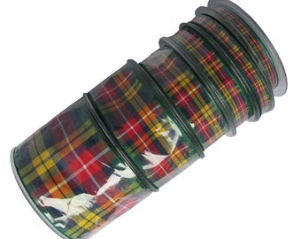 25m REELS Buchanan Tartan Ribbon - 70mm, 40mm, 25mm, 16mm, 10mm and 7mm widths. .(Cut lengths also available - pls see CUT LENGTHS listing)