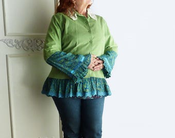 XL corduroy top, size 16, boho, altered couture, vintage lace, bell sleeves, lace collar, aqua, apple green, upcycled, FREE SHIPPING