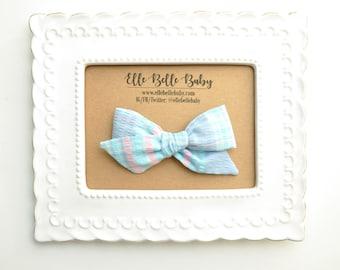 Vintage Blue Plaid Seersucker Schoolgirl Hair Bow - Hand-tied hairbow-Evy bow -Cotton Baby Headband - Newborn Hairbow - Toddler Hair Clip