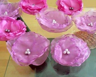 Chiffon flower hair bobby pins- Fairy, weddings women hair accessory, Bridesmaids large flower clip -flower appliques, pink embellishments