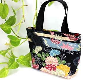 Tote Bag Small, Minimalist Bag, market bag, Daily bag, Gift For Wife, Floral Bag, Chrysanthemum Black