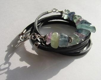 Natural Rainbow Fluorite Chips Bracelet