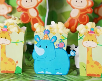 At The zoo  Party Favor boxes / Zoo party/ Treat boxes/ zoo popcorn boxes / jungle treat boxes/