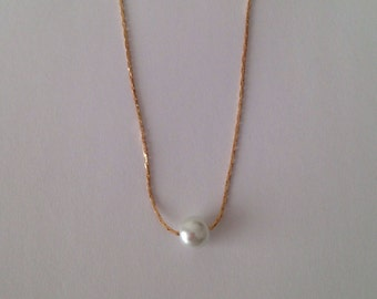 SALE: 5 Floating Pearl Rose Gold  Bridesmaid Necklaces - Wedding Bridal Jewelry, Single Pearl Necklace, Bridal Necklaces, Wedding Jewelry