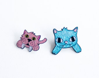 Prehistoric cats BFF pin set - Cat enamel pin - designosaur - I like cats - glitter enamel - lapel pin - enamel pin - cat enamel pin - cats
