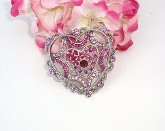 Vintage Heart Brooch | Silver Heart | Heart Pin | Pink Rhinestone Brooch | Sweetheart Pin | Pink Pin | Free Shipping US
