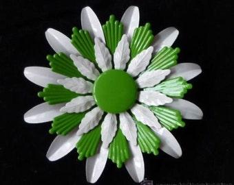 Beautiful vintage 1960 green and white enamel flower brooch