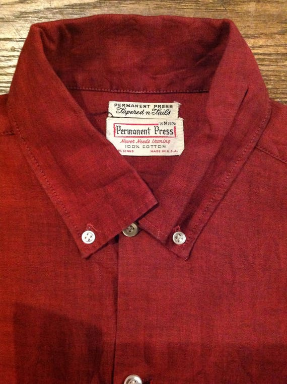 "Vintage 1960s 60s iridescent red shirt permanent press Ivy League style roll button down collar made in USA 41"" chest mod"