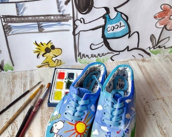 shoes in hand painting