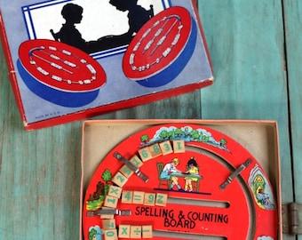 Spelling & Counting Board, Educational Tool, Kids Room Decor, Kids Room, Letters, Numbers, Vintage Educational Tool, Educational Toy