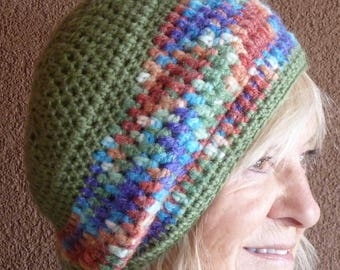 Slouchy winter beanie made for fun, soft green wool crochet hat, chic and hand created winter accessory, women's winter hat