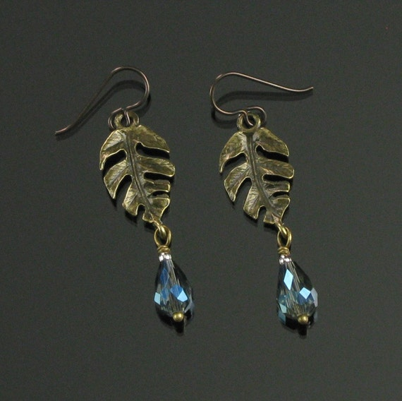 Brass Leaf & Crystal Earrings, Unique Tropical Leaf Long Dangles, Brass Nature Jewelry, Niobium earrings, Unique Jewelry Gift for Women, Mom