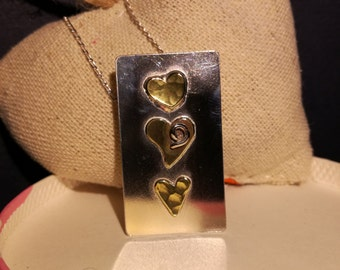 Column of hearts in silver and brass- pendant