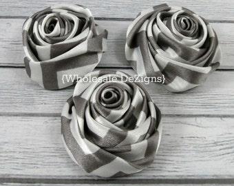 "Grey Chevron Satin Rolled Rosette Flowers - 2"" - Set of 3 - Grey & White Chevron"