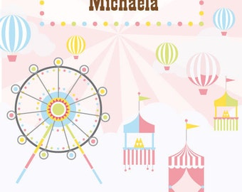 4'x6' Pink Carnival Birthday Backdrop Dessert Table / Photo Booth / Photographer