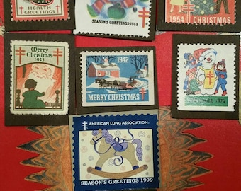 Antique, vintage American Lung Association christmas stamps...1923-1999