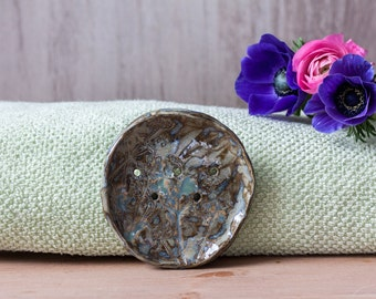 Small soap dish - ceramic soap dish with botanical ornament - clay soap dish - bathroom accessory - blue soap dish - green soap dish