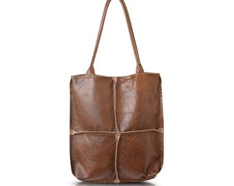 Brown Leather Tote, Leather Work Tote, Soft Leather Shoulder Bag, Simple Leather Tote,Large Leather Tote,Soft Leather Tote,Women's Work Tote