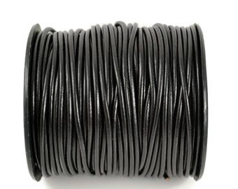 3mm Black Leather Round Cord - Subtle Shine