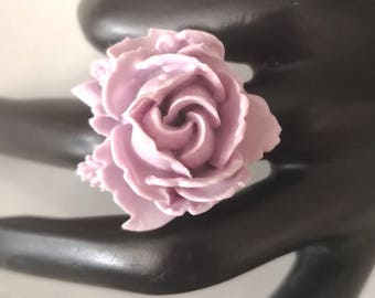Jewelry Light Purple Rose Ring Antiqued Brass Filigree Adjustable Ring Flower Jewelry, Statement Jewelry, Resin Ring, Bridesmaid Jewelry
