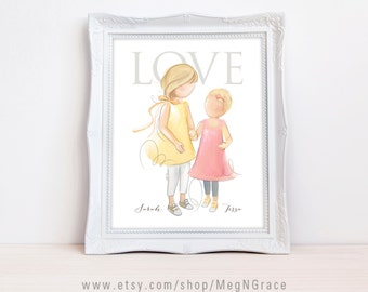 Sisters Wall Art Decor - Blonde Hair - PERSONALIZED Child's Room Wall Art Print Gift for Mother's Day, Daughter's Gift, Gift for Wife