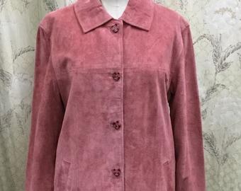 FREE SHIPPING Vintage 1980s Pink Suede Jacket,  Pink Leather Jacket, Brandon Thomas, Size 8