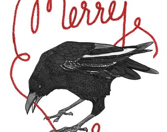 Merry Crow A6 Holiday Greeting Card w/ FREE Shipping