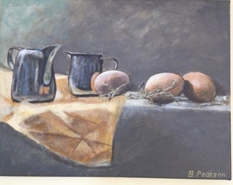 Original acrylic painting, still life painting, eggs and two milk jugs, 14x18 inch stretched canvas