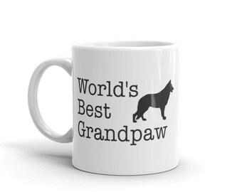 German Shepherd Dad Mug - World's best Grandpaw with a German shepherd - German shepherd Gift for dad Paw Mug