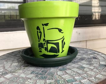 Star Wars Boba Fett Stencil Flower Pot