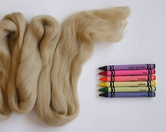 MERINO WOOL ROVING / Taupe 1 ounce / merino wool top / needle felting / wet felting / spinning fiber / infant photography prop basket filler
