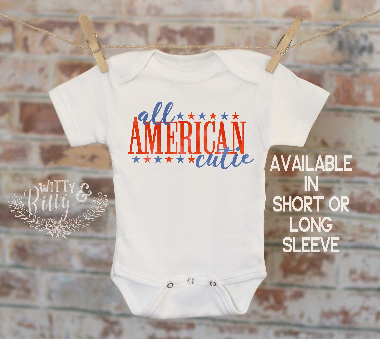 All American Cutie esie Patriotic Baby Clothes Merica