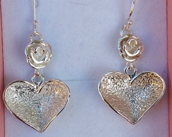 Heart Silver Earrings ,Silver Dangle Earrings ,Sterling Silver Earrings ,Rose Silver Earrings ,Handmade Silver Earrings ,Mother's Day Gift