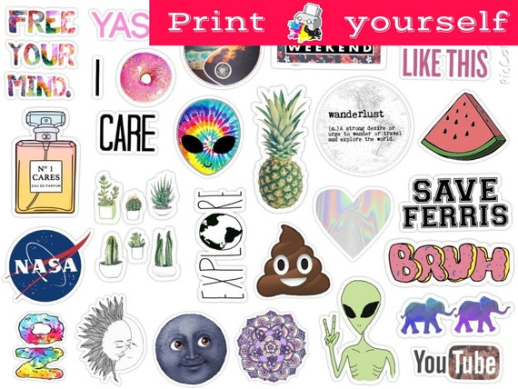 Mockup printable tumblr stickers stickers set of