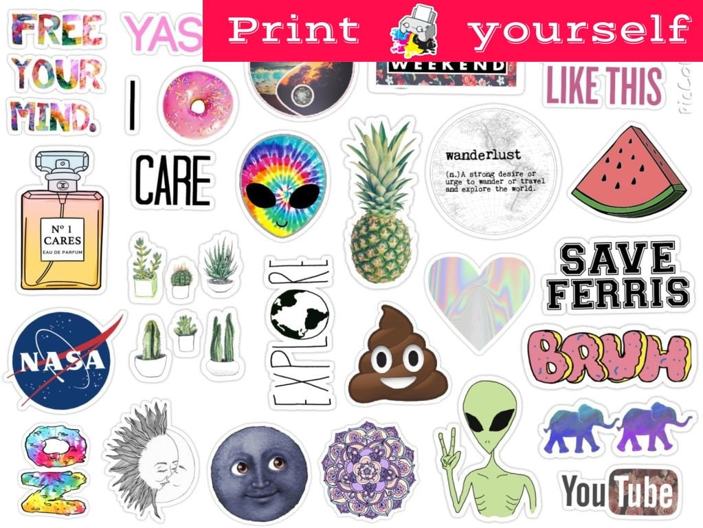 Mockup printable tumblr stickers stickers set of stickers decals instant download pdf and png file