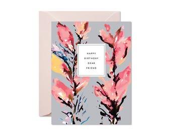 HAPPY BIRTHDAY Dear Friend Blush + Coral Floral Greeting Card / Birthday / Celebration