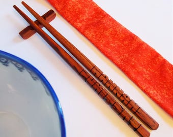 Chopsticks in Cocobolo Rosewood, Personalized , Custom Carved to Order