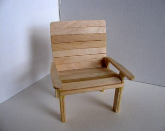 Miniature Garden Chair / 1:12 Scale  Doll House Accesssories / Handmade with Unfinished Birch