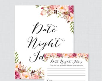 Pink Floral Date Night Ideas - Printable Rustic Bridal Shower Date Night Idea Cards and Sign, Rustic Pink Flower Bridal Shower Activity 0024