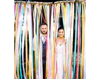 Garland Ribbon wedding, ribbons, colorful wedding decor curtain, wall ribbons photobooth, tulle, Burlap, sequin, communion, barmitzva