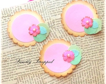 3 Pink Flower Cards, Journal Spots, Name Cards ... Shabby Chic, Party, Scrapbooking, Cardmaking, Embellishments, Blank Labels, Flowe Labels