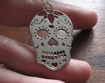 Sugar Skull Handmade Argentium Silver Pendant Necklace